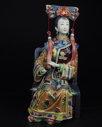 sculpture ceramics NZ - The best Christmas gift !! High:10inch Collection Chinese handmade ceramic Statue Palace Ladies about the Qing Dynasty Sculpture