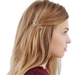 $enCountryForm.capitalKeyWord NZ - Fashion Chic Pin Shape Clip Simple Metal Hairpins Stick Girl Hair Accessories C19010501