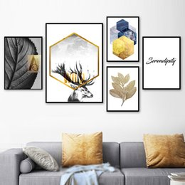 background prints Australia - Canvas Poster Prints Home Decor Painting Geometric Leaf Elk Pictures Butterfly Rose Flower Wall Art Modular Bedside Background