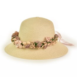 87c733c3 2019 Lady Fashion Elegant Travel Flower Straw Hat Visor Cap Female Outdoor  Beach Caps Summer Women's Hats Casual Sunhat