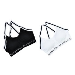 Wholesale Fitness Yoga Push Up Sports Bra Women Gym Running Seamless Black And White Sexy Wrapped Chest Micro Business Versatile Girl Shor