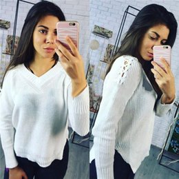 1dec7d83b4a Women Fashion Knitted Sweater Warm Winter Autumn V Neck Open Shoulder  Elegant Lace Up Casual Streetwear Mujer Pullovers WS2371Y