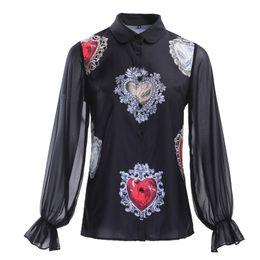 220c7d2f02a black chiffon blouse designs 2019 - Runway Designing Women Summer Fashion  Lantern Sleeve Vintage Shirt Print