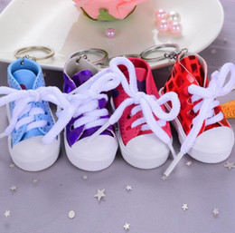 Discount sneaker jewelry Fashion Cute Sport Shoes Keyring Mini 3D Sneaker Canvas Shoes Keychain Tennis Shoe Chucks For Unisex Jewelry