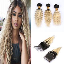Discount ombre deep wave bundles closure Deep Curly Virgin Hair Weaves With Top Closure 4*4 Ombre Blonde #1B 613 Deep Wave Hair Bundles With Lace Closure