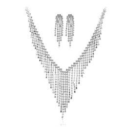 $enCountryForm.capitalKeyWord UK - Bridal Korean luxury tassel necklace earrings fashion pop metal boutique silver women jewelry set