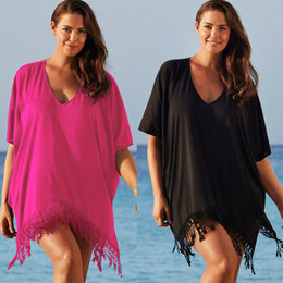 plus size swimwear sleeves UK - Women Lace Chiffon Swimwear Bikini Cover Up Beachwear Kaftan Loose Bat Sleeve Pareo Swimwear Mujer BeachTunic Robe Plus Size