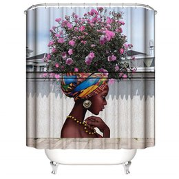 Healthy Art Australia - DIY Beautiful Flower Girl Art Shower Curtain for Shower Stall by Woman Ethnic Themed Bathroom Decor Anti Mold Water Resistant Healthy Fabric