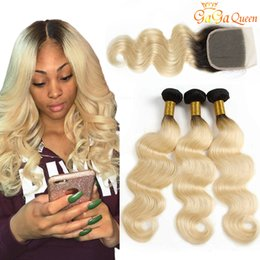Discount 32 34 inch 1b 613 hair - 3 Bundles 1B 613 Body Wave With 4x4 Lace Closure Brazilian Virgin Body Wave Human Hair Dark Roots Honey