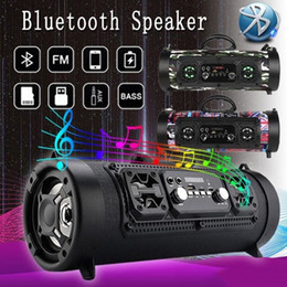 portable led stage lighting Australia - Portable Speakers CH-M17 Bluetooth speaker wireless LED colorful light barrel microphone Outdoor portable subwoofer support Bluetooth