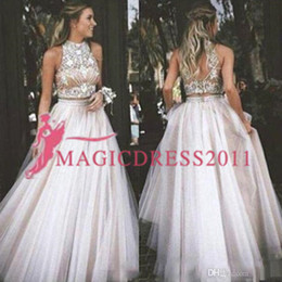 d16f57d6cd01 Two Pieces A Line Prom Dresses Lace Appliques Beads Homecoming Dresses for  Teens Bridesmaid Dress Custom Made Formal Evening Gowns