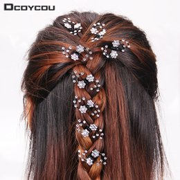 $enCountryForm.capitalKeyWord NZ - 6PCS 1 pack Wedding Bridal Hair Claws Women Mini Headwear Rhinestone Snowflake Hair Clips Flower Hairpins Hair Accessorie