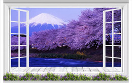 Cherry Blossom Fabric Australia - Papel de parede Custom 3D photo mural wall paper Floor-to-ceiling windows Mt. Fuji cherry blossom landscape 3d TV sofa background wall