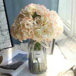 silk flowers vase decoration Australia - Silk Hydrangea Bride Bouquet Artificial Flowers Wedding Home New Year Decoration Accessories For Vase Flower Arrangement