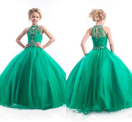 Black rhinestone formal long dress online shopping - Green Girls Pageant Dresses New Beaded Halter Neck Rhinestones Crystals Tulle Ruched Long Kids Formal Party Prom Gowns BA0248