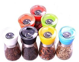 wholesale spice packaging UK - glass Pepper mill cruet Creative kitchen tool Colorful seasoning bottle 7 style with white box package wedding decoration