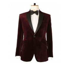 Wholesale velvet jackets for sale – winter Luxury Lapel Black Satin Lapel Men Suit Jacket Formal Male Burgundy Velvet Blazer Single Breasted Formal Prom Party Coat