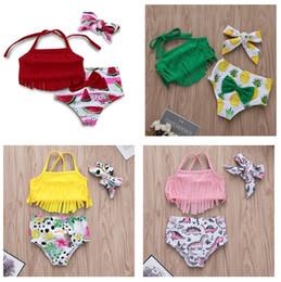 $enCountryForm.capitalKeyWord Australia - Baby Girls Fringe Swimming Suits Summer 2019 Kids Boutique Clothing Infant Toddler Girls Fruit Dinosaur Print Swimming 3 PC Set