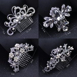 Fine black hair online shopping - Bridal Wedding Tiaras Stunning Fine Comb Bridal Jewelry Accessories Crystal Pearl Hair Brush utterfly hairpin for bride