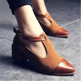$enCountryForm.capitalKeyWord NZ - Woman Shoes New Spring Autumn Vintage Mid Heels Pumps Fashion Sexy Pointed Toe Hollow Out Ladies Shoes Zapatos Mujer Black Brown