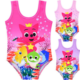 Girls bathinG suit kids swim online shopping - INS Kids Baby Shark One piece Swimsuit Cartoon Swimwear Tank Jumpsuit Vest Romper Summer Swim Beach Bathing Clothes suits Swimming A52405