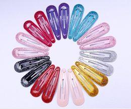Metal Snap Hair Clips Wholesale Australia - 100pcs lot Snap Hair Clips Glitter Hairpins for Children Kids Hair Clip Pins for Baby Girls Hair Accessories Cute Metal Barrettes 5cm