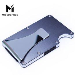 Venta al por mayor de Aluminio RFID que bloquea el titular de la identificación de la tarjeta de crédito comercial del metal del clip de dinero de la cartera delgada mini con el protector de la caja del Anti-chief