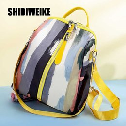 unique backpacks NZ - Multi-Color woman Watercolor Ink Printing School Bags Women Fashion Graffiti Travel Rucksacks Unique Backpacks 1X29