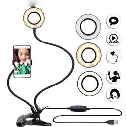 Photo Studio Selfie Luz anular LED con teléfono celular Soporte móvil para Youtube Live Stream Maquillaje Lámpara de cámara para iPhone Android