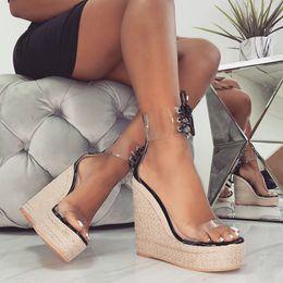 $enCountryForm.capitalKeyWord Australia - New Women Supper High Heel Sandals Sexy Transparents PVC 15CM Lace Up Ankle Strap Wedges Shoes 4.5CM Platform Dress Women Pumps