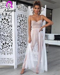 transparent women gown Australia - White Dress Women Spaghetti Strap Transparent Mesh Gown High Split Dress Elegant Women Summer Sun Dresses Club Party Dress Robe Y19073001