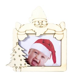 wooden photo frames NZ - DIY Wooden Photo Frame Christmas Wooden Photo Frame Baby Kids Picture Holder Desktop Ornament Festive Party Supplies