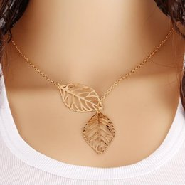 Gold Pendants Charm Wholesale Australia - 2019 Fashion Simple 2 pieces Leaves Choker Necklace women Gold & Silver plated Hollow leaves Pendant Charm For Ladies Jewelry in Bulk