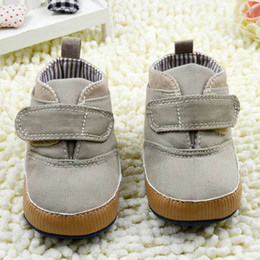 $enCountryForm.capitalKeyWord Australia - Newborn Baby Boys Solid color High Crib Shoes Baby Kids Canvas Ankle Short Boots Soft Sole Toddler Infant First walker
