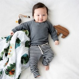 Double breast vest online shopping - Autumn Spring INS Newest Infant Toddler Baby Kids Boyls Girls Clothing Suits Blank Cotton Sweatshirts with Stripes Pants pieces Suits