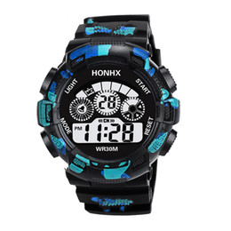 Wholesale HONHX Men s Electronic Table Led Waterproof Sports Watches Camouflage Three Eyes Outdoor Watches Children s Birthday Gifts