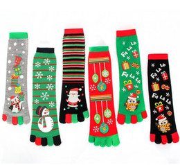 Cosplay tube online shopping - Winter Warm Christmas five finger Socks Cartoon Mid Tube Socks Hosiery Girls Women Stockings Xmas Gifts Cosplay Christmas Decorations AN2853