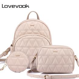 Coins Sets Australia - LOVEVOOK women backpack schoolbag for girls teenagers backpack female shoulder crossbody bag high quality purse for coins 3 set