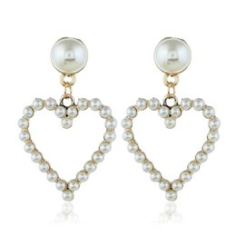 Mother Pearl For Pendant Australia - New Heart Pearl Earring For Femal Personality Hollow Earring Stud Hot Selling Pendant Pearl Charm Ear Stud Wholesaler Anti-allergy Earrings