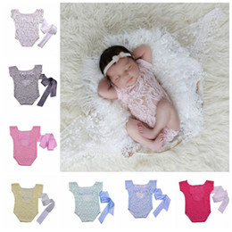 $enCountryForm.capitalKeyWord Australia - Newborn Baby Photography Prop Clothes Infant Striped Soft Lace Rompers Infant Fly Sleeve Photo Jumpsuit Toddler Tutu Bowknot Bodysuit TL269