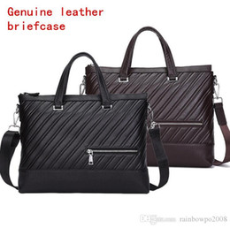 $enCountryForm.capitalKeyWord Australia - Factory independent brand men bag fashion stripes men handbag leather business briefcase trend cowhide embossing computer bag