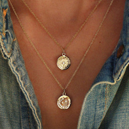 moon star crystal necklace NZ - Boho Star Moon Necklace Double Layered Necklace Gold Chain Choker Coin Necklace Women Accessories Collares Femme