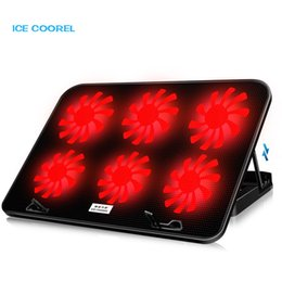 Discount 12 stand - Laptop cooler 2 USB Ports and Six cooling Fan LED laptop cooling pad Notebook Stand for 12-17 inch for