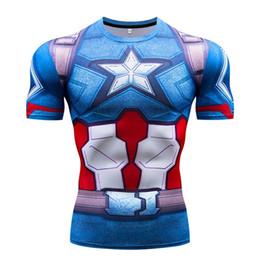 $enCountryForm.capitalKeyWord Australia - Superhero Captain America mens compression shirt sports gym runing summer 3D printed short sleeve oversize slim t shirt men dry fit