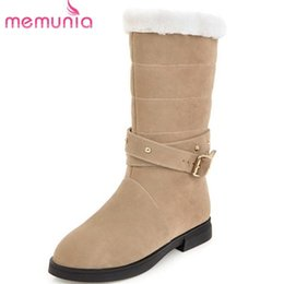 $enCountryForm.capitalKeyWord NZ - Memunia Nice Pop Tide Flock Mid Calf Boots Women Round Toe Warm Winter Snow Boots Buckle Fashion Casual Low Heels Shoes