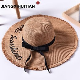embroidered straw hats Australia - Handmade Weave letter Sun Hats For Women Black Ribbon Lace Up Large Brim Straw Hat Outdoor Beach Summer Caps Chapeu Feminino #47490