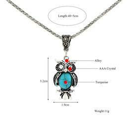 peacock chain necklace Australia - European and American Foreign Trade Necklace Earrings Retro Bohemian Style Turquoise Owl Necklace Set Clavicle Chain