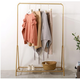 clothes floor hanger Canada - Nordic simple modern coat hanger household floor mounted coat hanger bedroom clothes shelf iron art display shelf