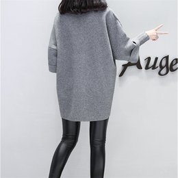 pullover grey women 2019 - Plus Size Grey Pink Long Sweatshirts Women Harajuku Fake Two Pieces Spring Autumn Loose Casual Elegant Women's Pull