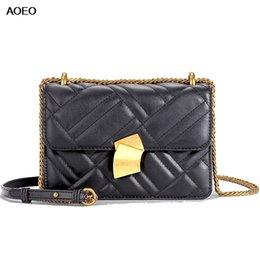 Ladies Sling Handbags Australia - AOEO Diamond Lattice Chain Women Shoulder Bag Sling Small Lady Handbag Luxury Split Leather High Quality Female Crossbody Bag